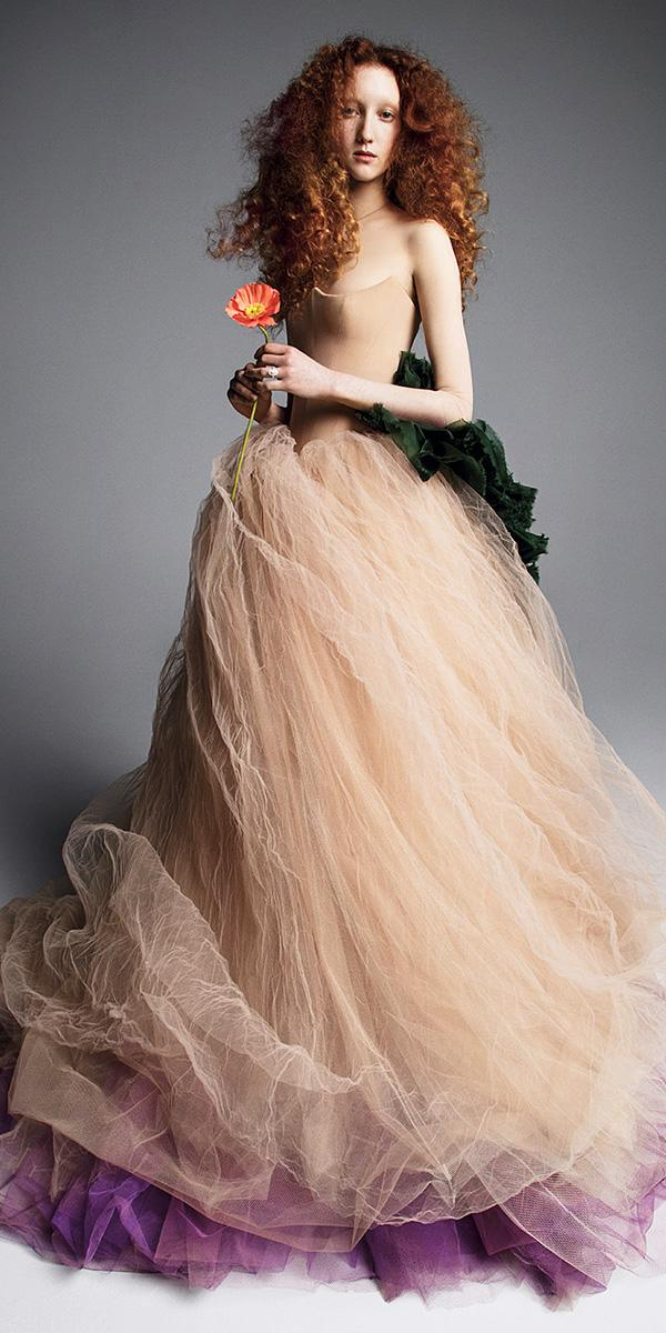 vera wang wedding dresses 2019 ball gown scalloped neckline nude colored