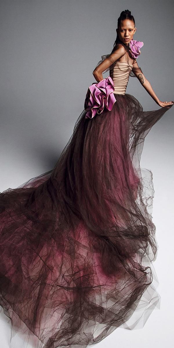 vera wang wedding dresses 2019 plum a line strapless neckline with flower unique