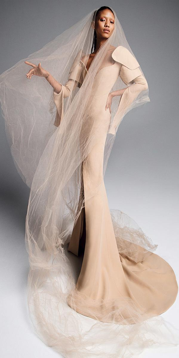 vera wang wedding dresses 2019 plunging neckline with long sleeves nude slit
