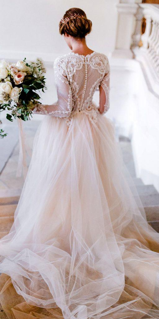 12dbf885eac8 vintage wedding dresses 1920s a line with long sleeves lace top blush  oksana mukha