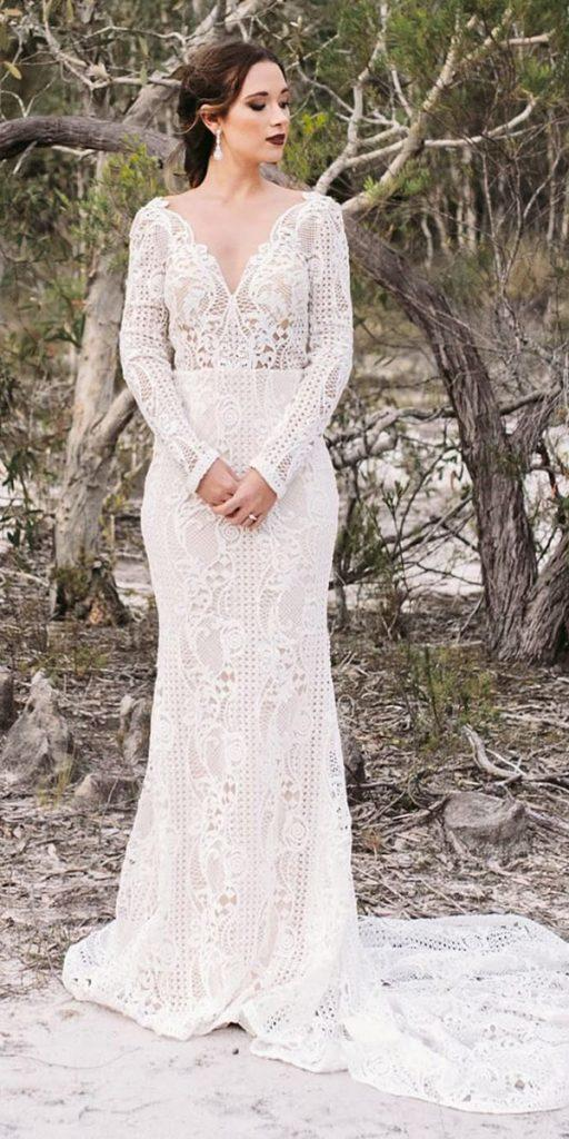 eefba76aa1 vintage wedding dresses sheath v neckline with long sleeves lace rustic  goddess by nature
