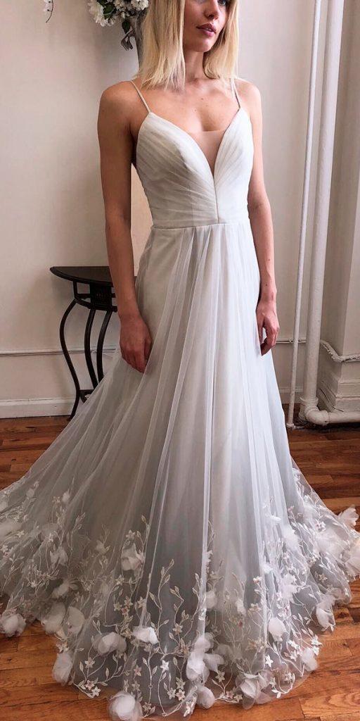 what to wear to a winter wedding a line ombre pastel grey v neckline spaghetti straps kelly faetanini