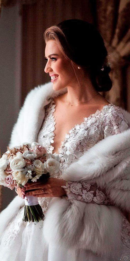 what to wear to a winter wedding floral applique v neck long sleeve with fur coat elen smirnova