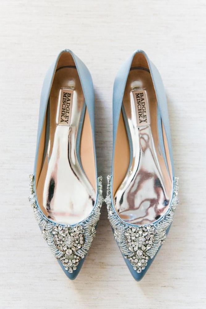 flat wedding shoes blue with stones badgley mischka