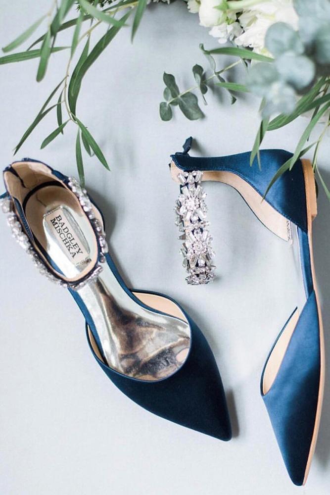 flat wedding shoes dark blue with stones badgley mischka