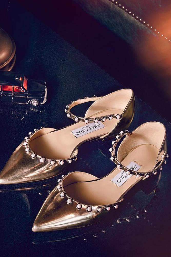 flat wedding shoes gold with pearls jimmy choo