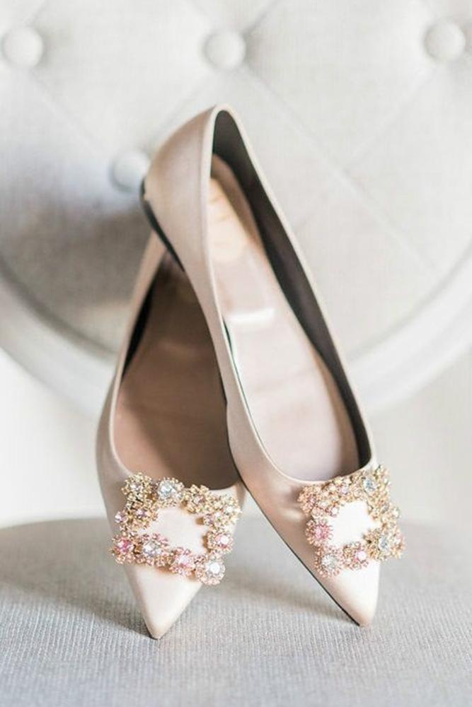 flat wedding shoes ivory with stones rebecca yale
