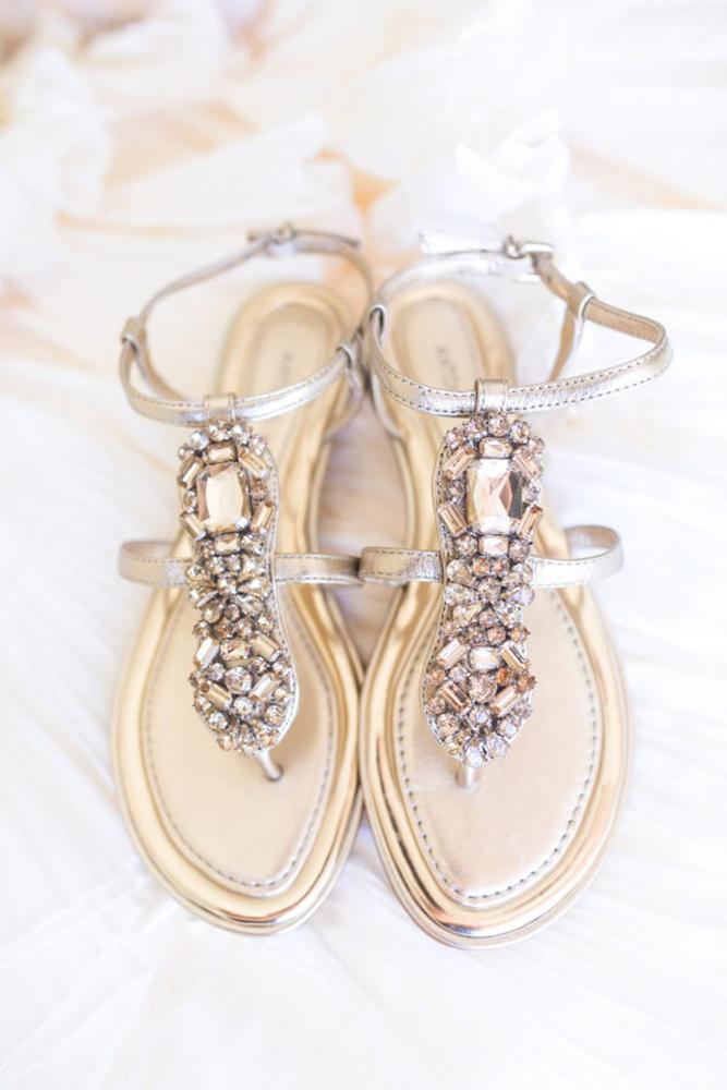 flat wedding shoes sandals with stones beach country dana cubbage weddings