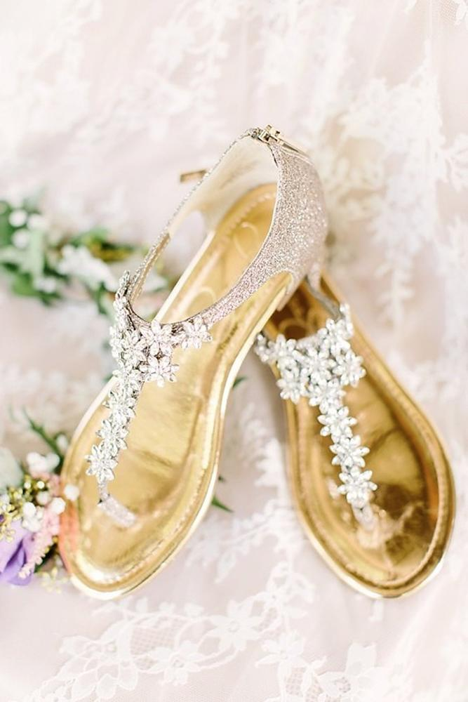 flat wedding shoes sandals with stones gold for beach erin wilson photography