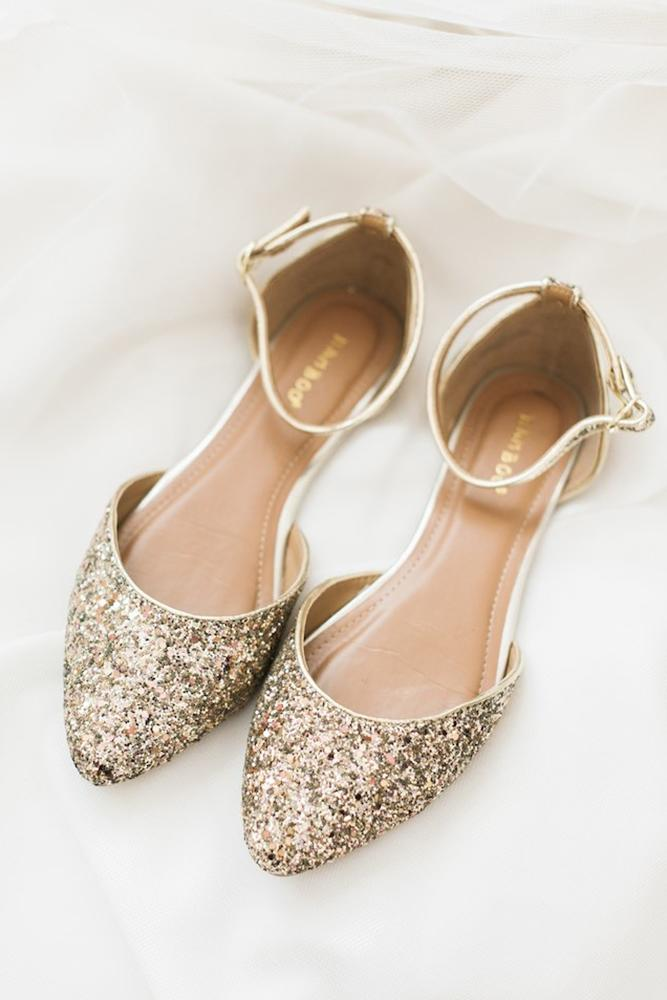 flat wedding shoes sparkle gold sequins shea christine photography