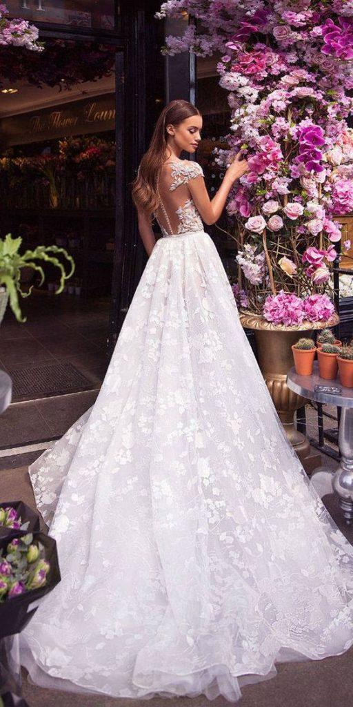 lace back wedding dresses a line illusion back with cap sleeves lace milla nova