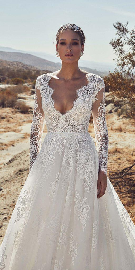 lace wedding dresses with sleeves a line v neckline callablanche