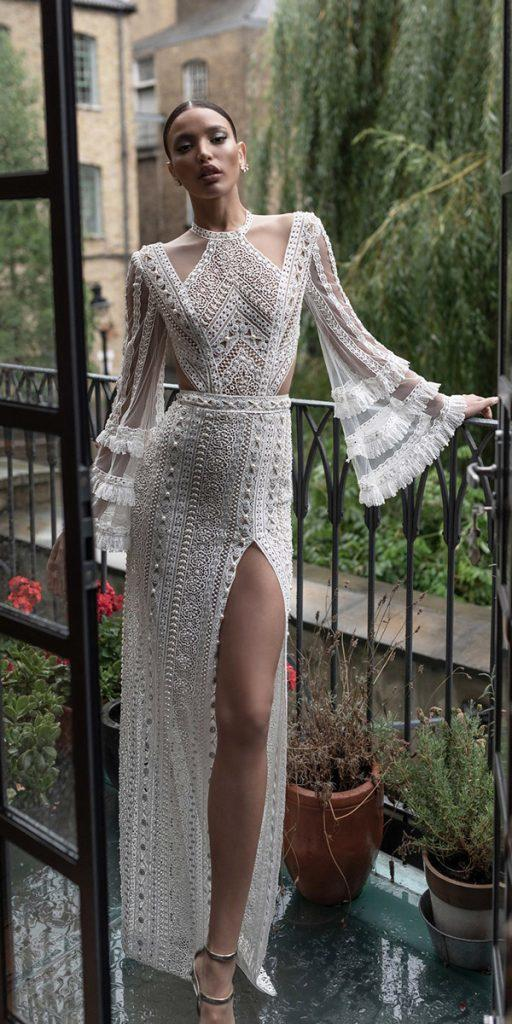 lace wedding dresses with sleeves sheath with slit unique charchy