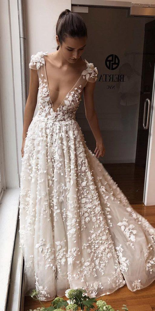 trendy wedding dresses a line sexy deep v neckline with cap sleeves floral berta