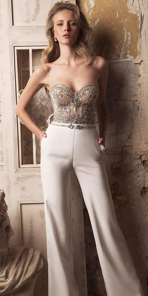 trendy wedding dresses jumpsuit sweetheart neckline beaded top drorgeva