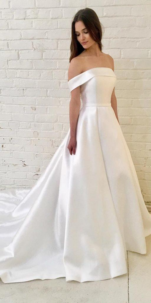 trendy wedding dresses simple a line straight neckline townandcountrybridal