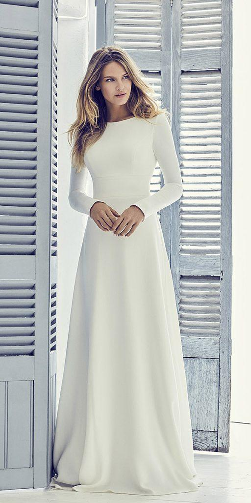 trendy wedding dresses simple a line with long sleeves similar meghan markle suzanne neville