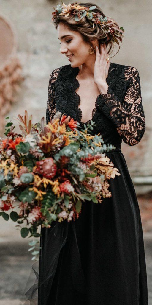 black wedding dresses with long sleeves deep v nekline lace