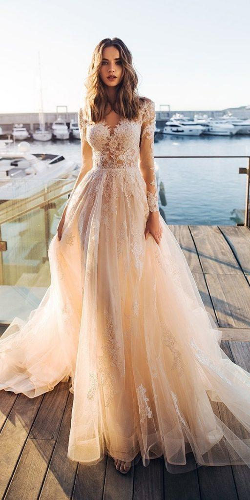 lace wedding dresses with sleeves a line blush noranaviano sposa