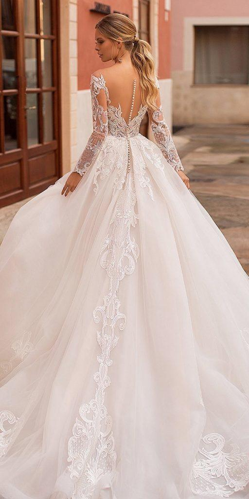 lace wedding dresses with ball gown illusion back blush navibluebridal