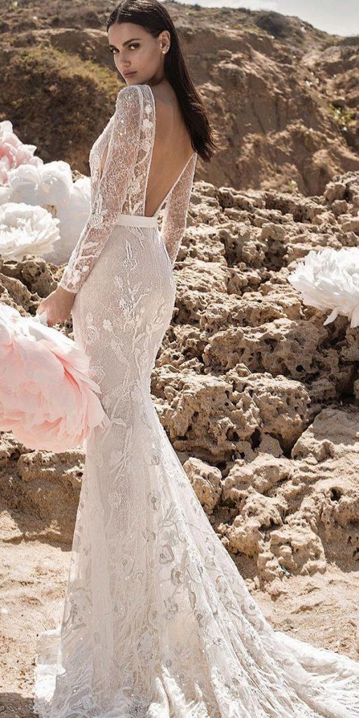 lace wedding dresses with sleeves fit and flare v back beach leegrebenau