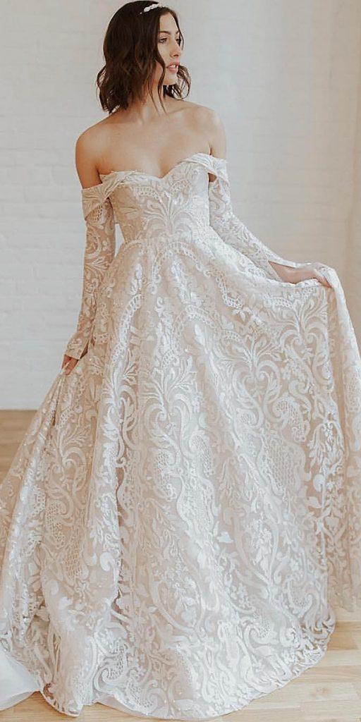 lace wedding dresses with sleeves sweetheart neckline off the shoulder misshayleypaige