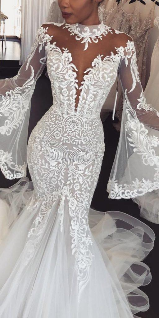 lace wedding dresses with sleeves trumpet illusion neckline leahdagloria