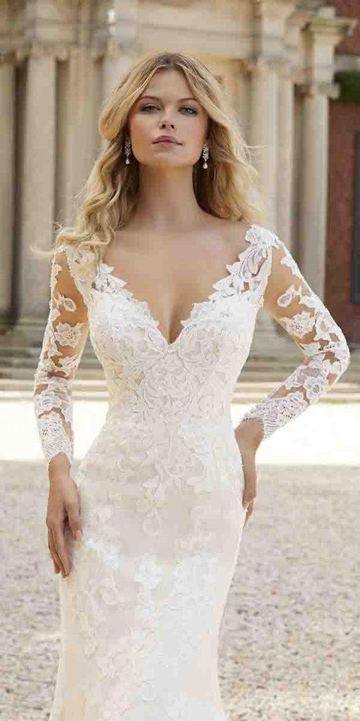 lace wedding dresses with sleeves v neckline country mori lee