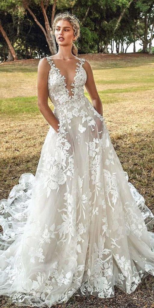 trendy wedding dresses a line deep v neckline floral galia lahav