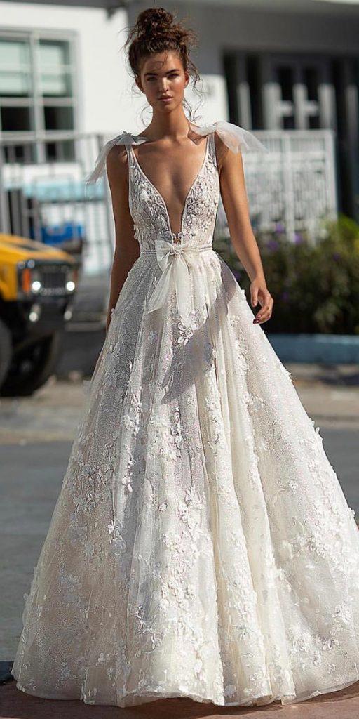 trendy wedding dresses a line sexy deep v neckline with bow beach berta