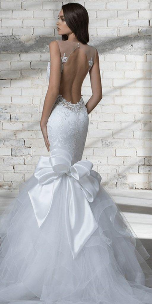 trendy wedding dresses open back with bow pnina tornai