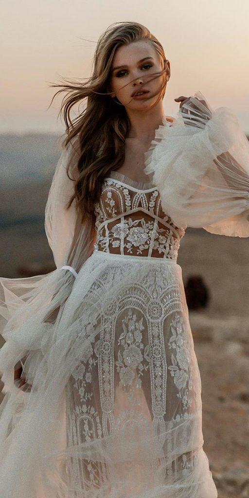 lace wedding dresses with sleeves a line for beach tali photography