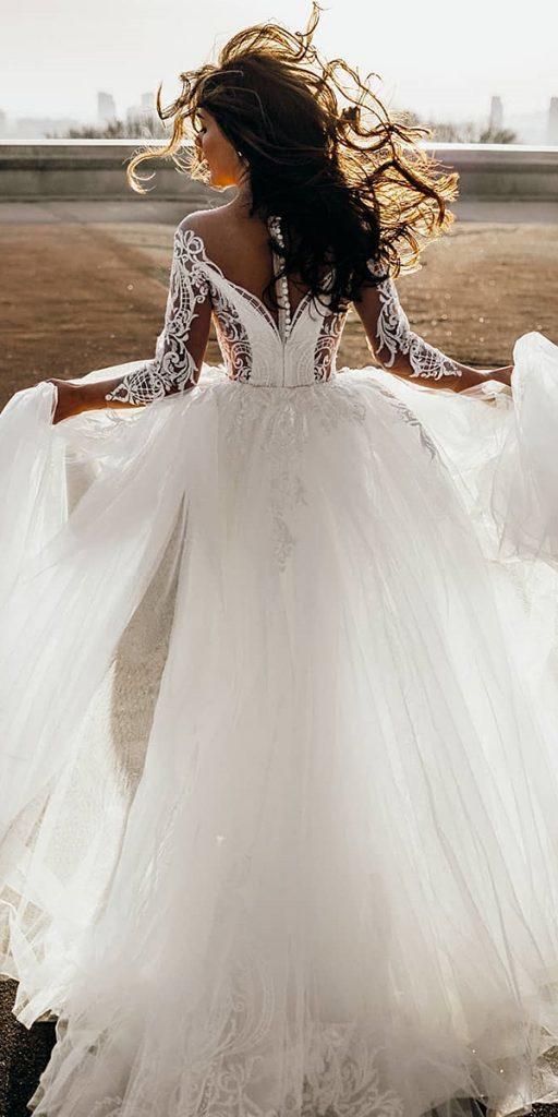 lace wedding dresses with sleeves ball gown illusion back oksana mukha