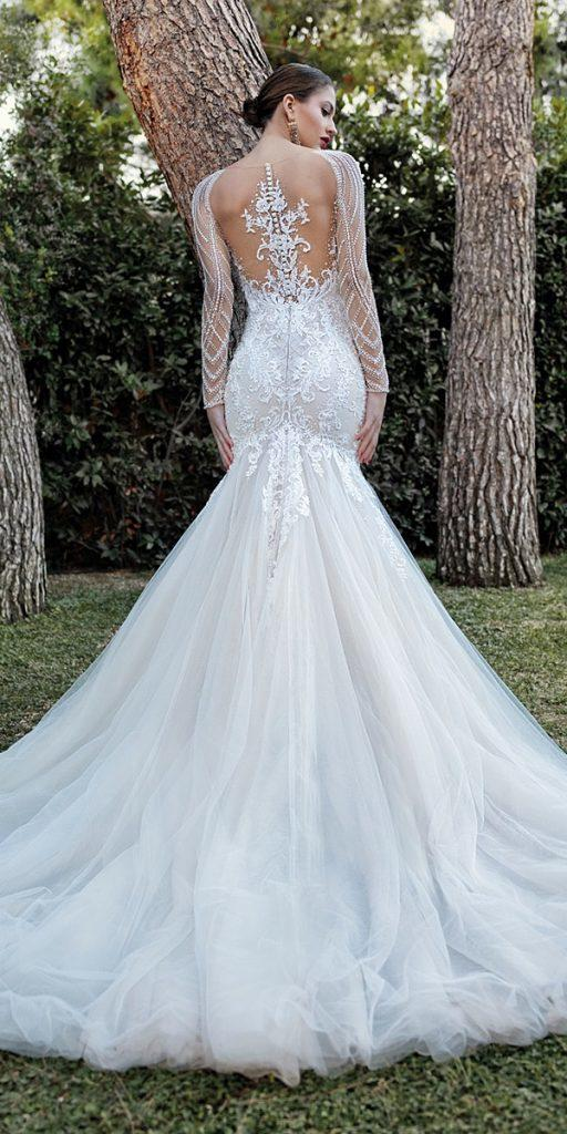 lace wedding dresses with sleeves fit and flare with illusion long sleeves tattoo effect back demetrios