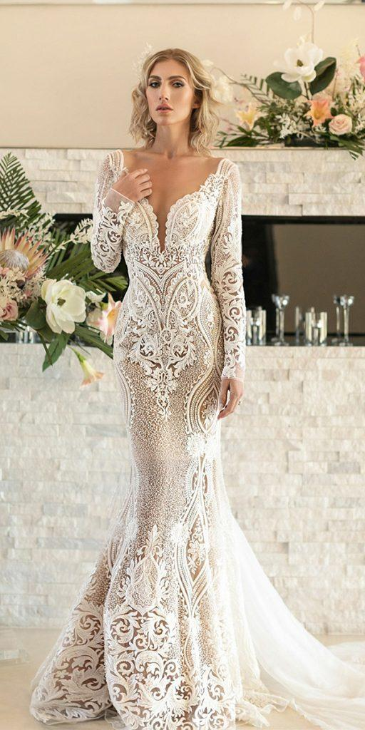 lace wedding dresses with sleeves mermaid plunging neckline naama and anat