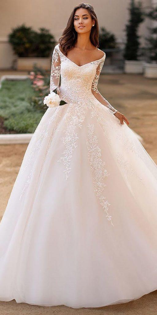 lace ball gown wedding dresses with illusion long sleeves v neckline moonlightbridal