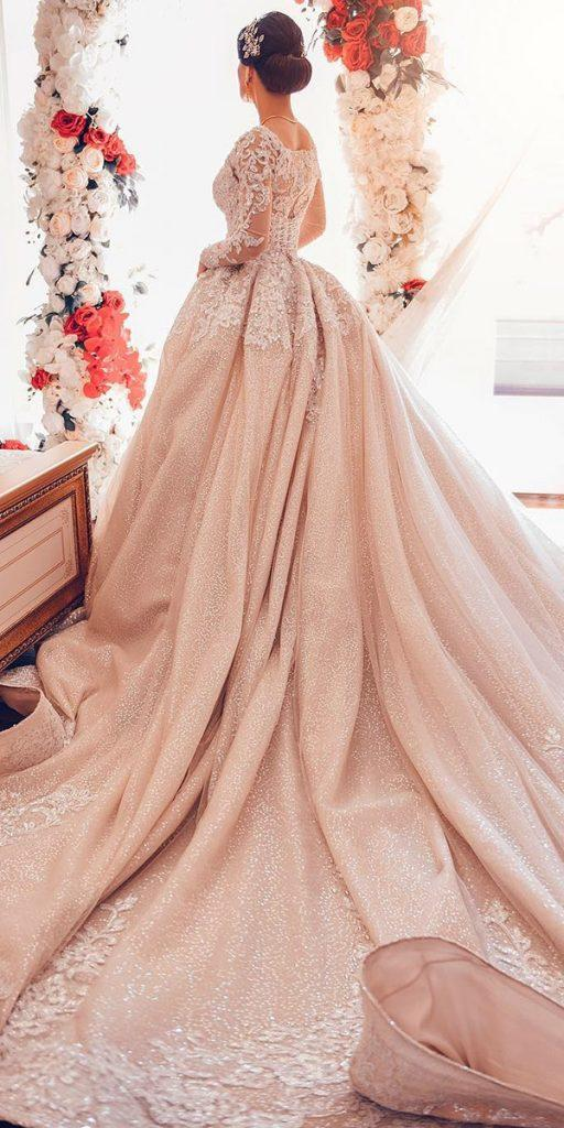 lace ball gown wedding dresses with long sleeves blush axarmina photograph