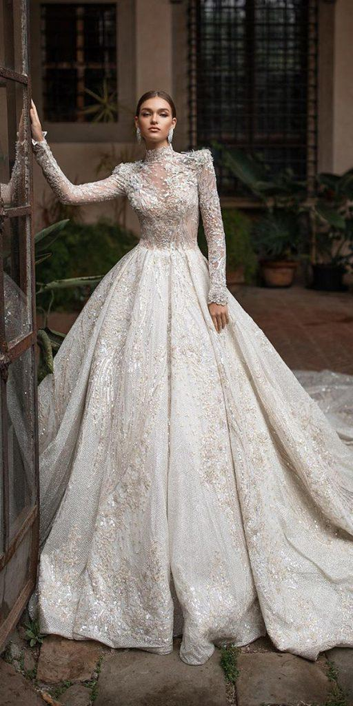 lace ball gown wedding dresses with long sleeves high neck with train millanova