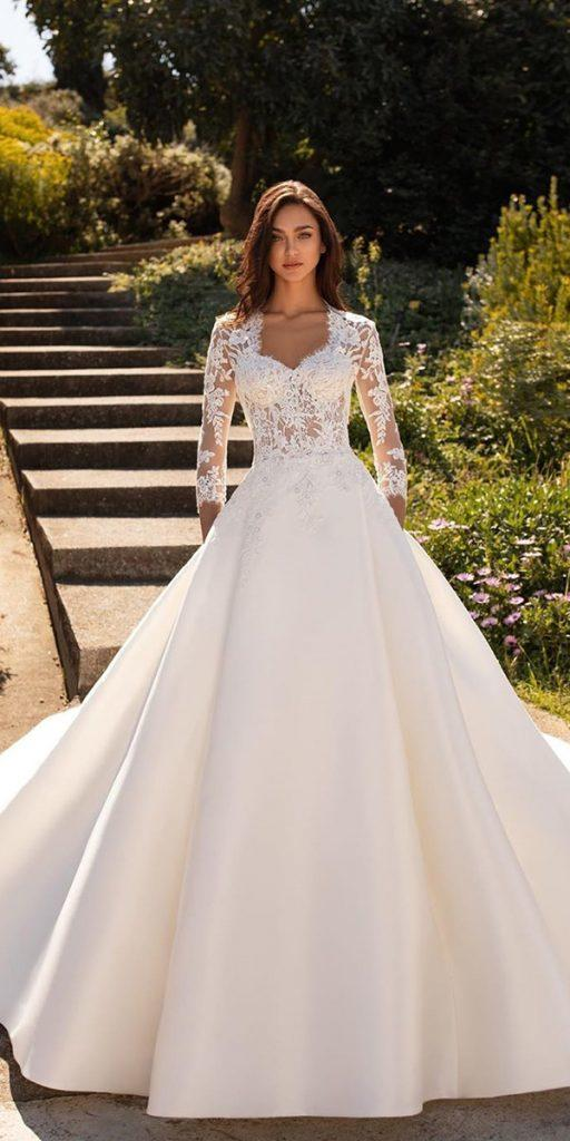 lace ball gown wedding dresses with three quote sleeves sweetheart neckline pronovias