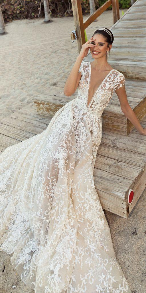 trendy wedding dresses a line deep v neckline with cape sleeves lace 2020 crystal design