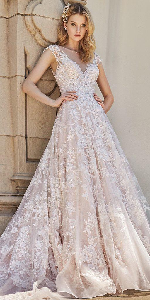 trendy wedding dresses a line illusion neckline lace val stefani