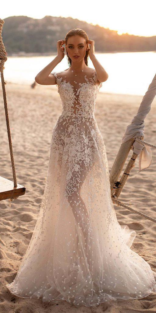 trendy wedding dresses a line illusion neckline nude for beach milla nova