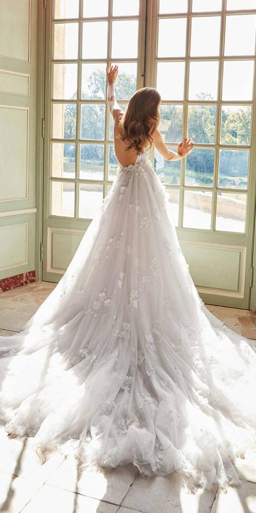 trendy wedding dresses a line low back with train 3d floral galia lahav