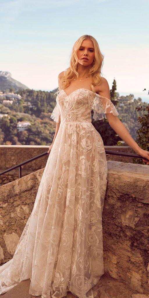trendy wedding dresses a line off the shoulder bohemian madi lane