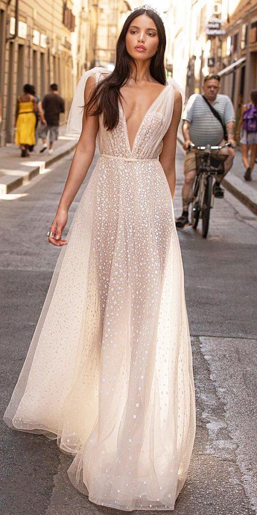 trendy wedding dresses a line sexy deep v neckline blush beach berta