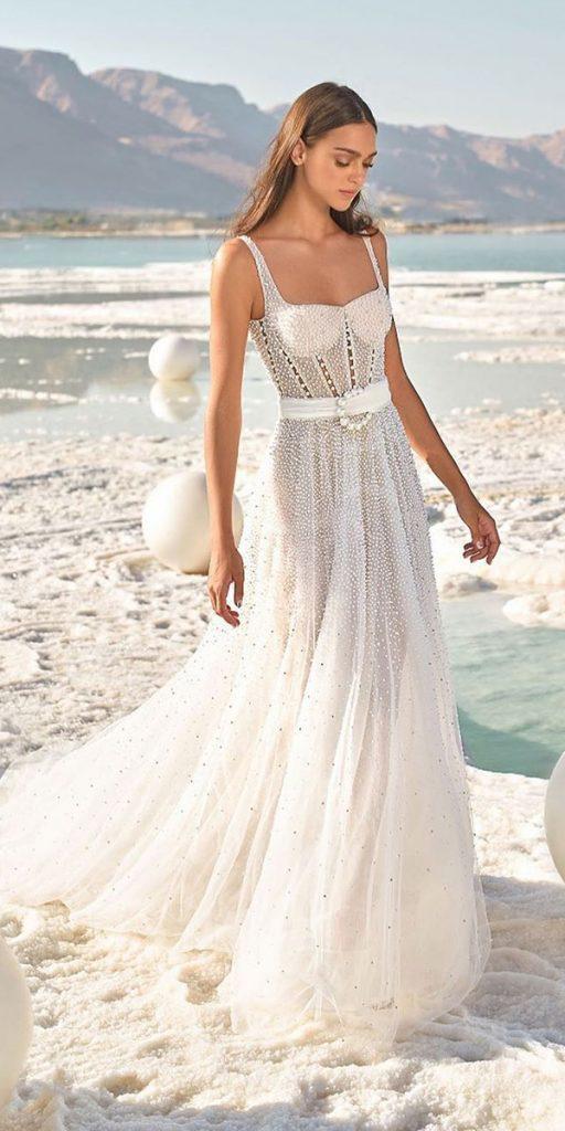trendy wedding dresses a line vintage square neckline beach 2020 lee grebenau