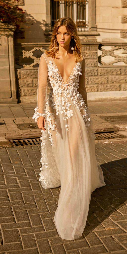 trendy wedding dresses a line with illusion long sleeves plunging neckline floral appliques berta