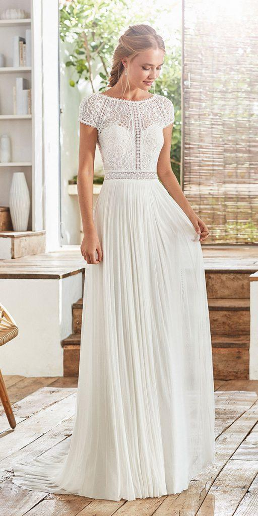 trendy wedding dresses a line with long sleeves modest simple rosa clara