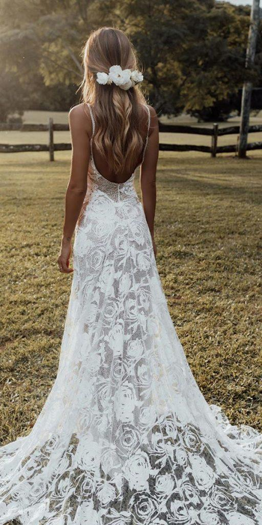 trendy wedding dresses a line with spaghetti straps backless boho grace loves lace