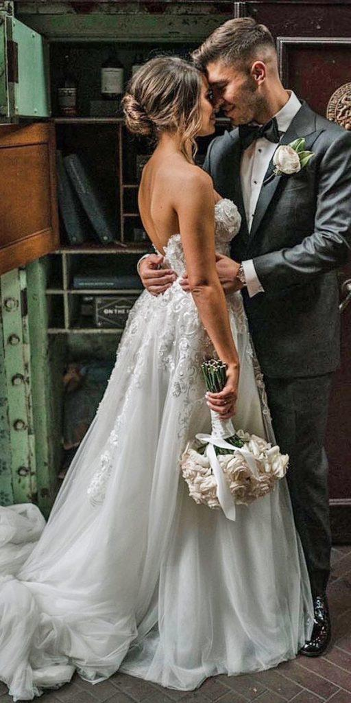 trendy wedding dresses ball gown sweethart strapless neckline lace leahdagloria